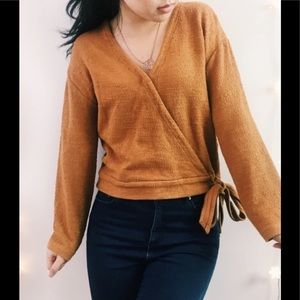 Madewell Texture & Thread Cedar Wrap Sweater Top M